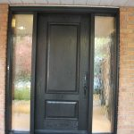 Wood grain Door, Solid Front Door with 2 Frosted Side Lites Installed by Windows and Doors Toronto in Maple Ontario