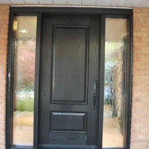 Wood grain Door, Solid Front Door with 2 Frosted Side Lites Installed by Windows and Doors Toronto in Maple Ontario