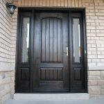 Wood grain Door, Solid Rustic Door with 2 Side lites Installed by Windows and Doors Toronto in Vaughan