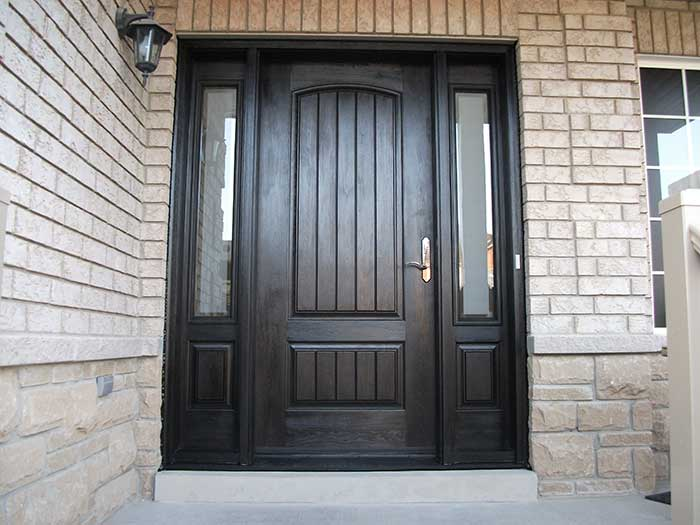 Wood grain Door, Solid Rustic Door with 2 Side lites Installed by Windows and Doors Toronto in Vaughan