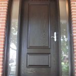 Wood grain Door With 2 Frosted side lites installed by Windows and Doors Toronto