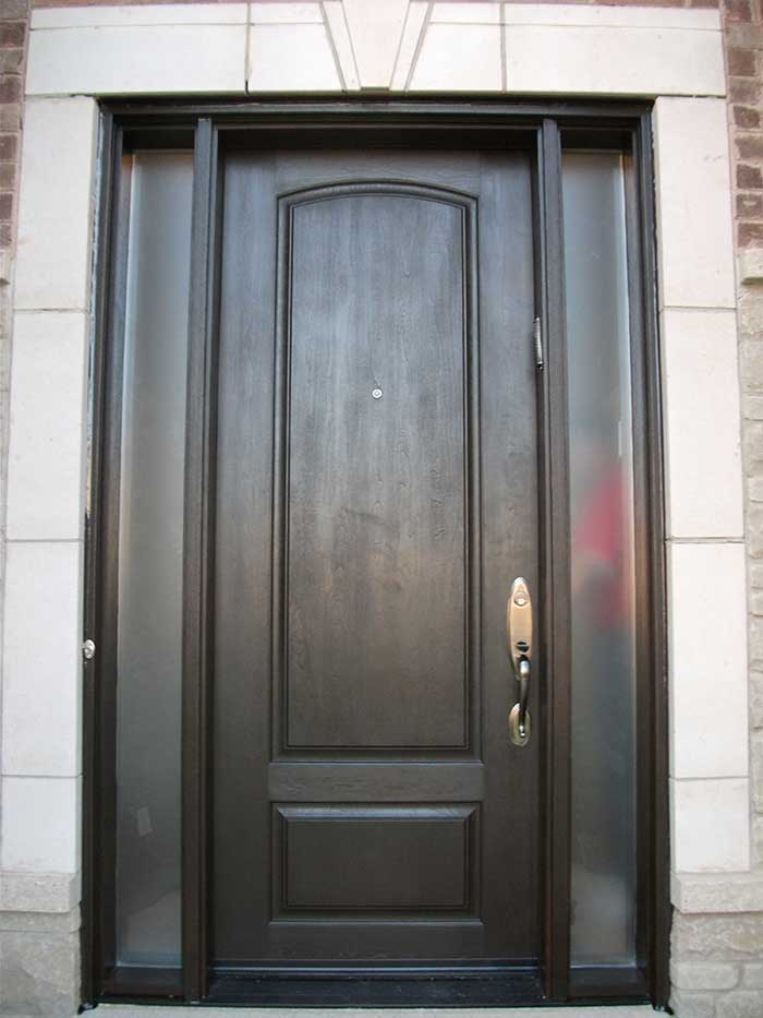 Wood grain Door with 2 Frosted Side Lites Installed by windows and doors toronto in North York
