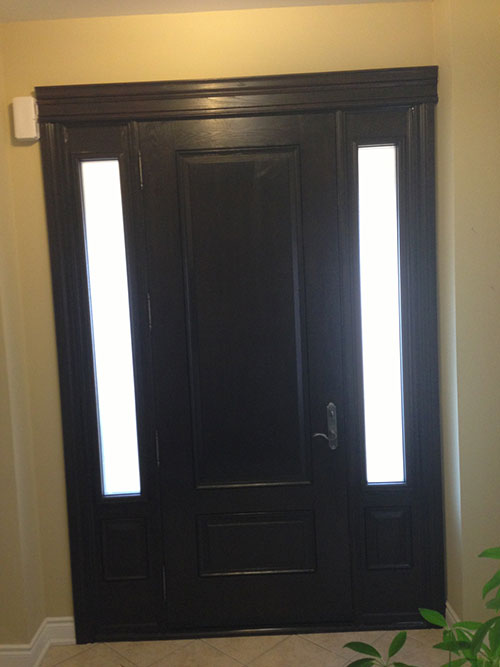Wood grain Door with 2 Side Lites, Inside View installed by Windows and Doors Toronto