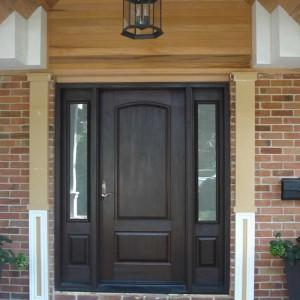 Wood grain Door with 2 Side Lites Installed by windows and doors toronto in Richmondhill