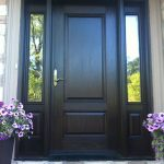Wood grain Door with 2 Side Lites, Outside View installed by Windows and Doors Toronto