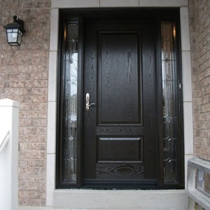 Wood grain Door with 2 Stained Glass Side Lites Installed by Windows and Doors Toronto