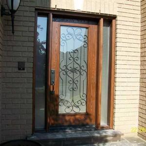 Woodgrain Door, with Paris Design & 2 side Lites Installed by Windows and Doors Toronto in Toronto