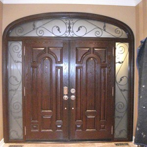 Wood grain Doors Parliament Design with 2 Iron Arts Side Lites and Transom, Inside View Installed by Windows and Doors Toronto