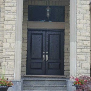 Wood grain Doors, Parliament Front Doors with Multi Point Locks and Iron Art Ransom Installed by Windows and Doors Toronto