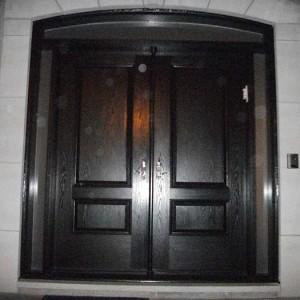 Wood grain Doors, Solid Parliament Double Door with 2 side lites installed by Windows and Doors Toronto