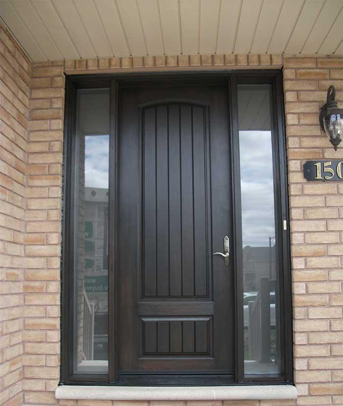 Wood grain Doors, Solid Single Door with 2 Side Lites Installed by Windows and Doors Toronto in Newmarket
