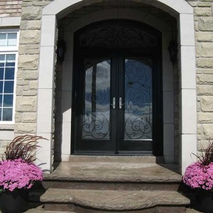 Wood grain Doors, Stained Glass Iron Art Door with Matching Iron Arch Transom Installed by Windows and Doors Toronto in Richmondhill