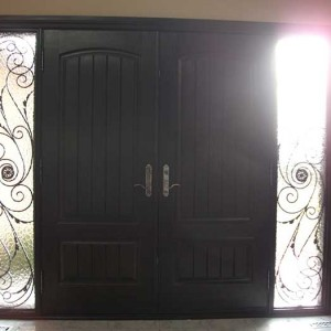 Wood grain Doors with Rustic and 2 Iron Art Side Lites Installed by Windows and Doors Toronto in Thornhill Ontario Inside View
