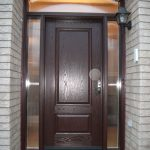 Wood grain Fiberglass single exterior door with 2 side lites and arch transom Installed by Windows and Doors Toronto