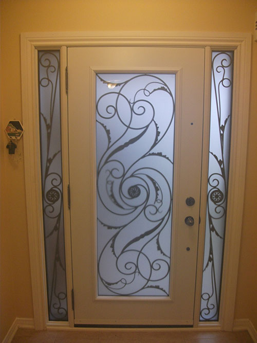 Wrought Iron Exterior Door Milan Design with 2 side Lites, Inside View Installed by Windows and Doors Toronto
