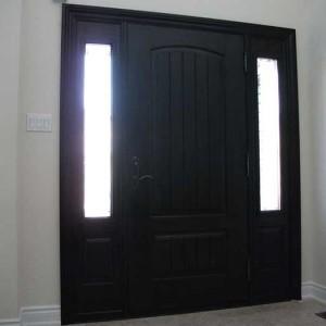 wood grain Door, Solid Rustic Door with 2 Side lites Installed by Windows and Doors Toronto in Vaughan inside view