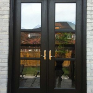 wood grain Doors, Flush Glazed with Multi Point Locks by Windows and Doors Toronto