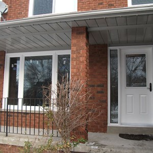 11- Smooth Door, Stained Glass Door with 2 side Lites, Outside View Installed by Windows and Doors Toronto