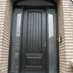 8-Foot Door, Single-Solid-Fiberglass-Front-Door-with-Rustic,-2-Frosted-Side-Lite Panel-&-Matching-Art-Transom by Windows and Doors Toronto