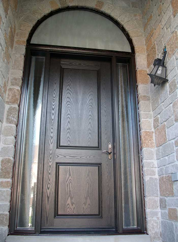 8-Foot Door, Single-Solid-Front-Door-with-2-Glazed-Side-Lites-and-Matching-Art-Transom-Installed- by Windows and Doors Toronto in-Newmarket