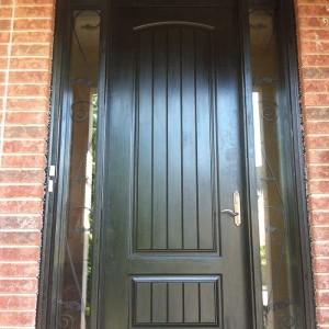 8-Foot Door, Single-Solid-Rustic-Front-door-with-2-iron-Art-Side-Lights-Installed- by Windows and Doors Toronto in-Scarborough