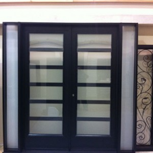8 Foot Doors, Fiberglass Modern Doors with 2 Side Lites and Frosted Glass Installed by Windows and Doors Toronto