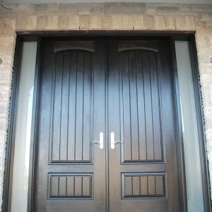 8-Foot Doors, Fiberglass-Rustic-Parliament-Front-Doors-with-2-Frosted-Slim-Side-Lites-Installed- by Windows and Doors Toronto