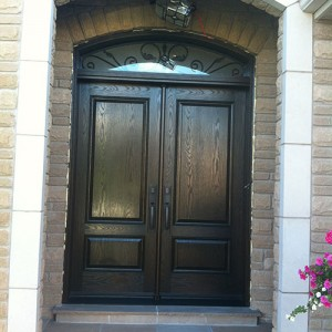 8 Foot Doors, Fiberglass Woodgrain Fiberglass Solid Double Doors with Arch iron Art Transom Installed by Windows and Doors Toronto