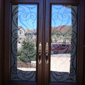 8 Foot Doors, Wrought Iron Woodgrain Milan Design Double Doors Installed By Windows and Doors Toronto