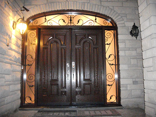 8 Foot Fiberglass Double Doors Parliament Design with 2 Iron Arts Side Lites and Transom Installed by Windows and Doors Toronto