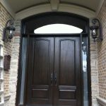 8-Foot-Fiberglass-Double-Solid-Parliament-Front-Door-with-2-SIde-Lights-and-Matching-Art-Transom-Installed- by Windows and Doors Toronto