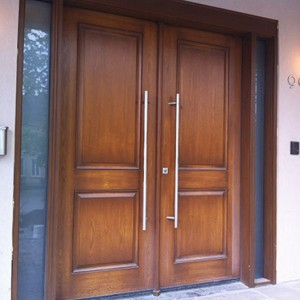 8 Foot Modern Fiberglass Wood Grain Double Doors with 2 Side Lites Installed by Windows and Doors Toronto