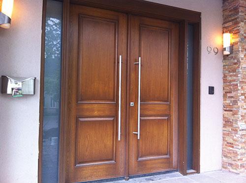8 Foot Modern Fiberglass Wood Grain Double Doors with 2 Side Lites Installed by Windows and Doors Toronto