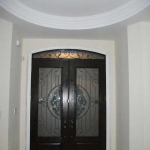 Custom Doors, 8-Foot-Milan-design-Fiberglass-Double-Doors-With-Matching-Art-Transom-Installed by Custom Windows and Doors Toronto-in-Thornhill-Inside-View