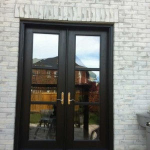 Custom Doors-Fiberglass-French-Door-8-Foot-Installed by Windows and Doors Toronto-in-Back-Yard-in-Markham
