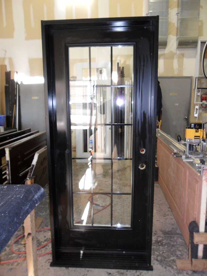 Custom Doors-Fiberglass Single Flash Glazed Back Yard Door installed by Windows and Doors Toronto