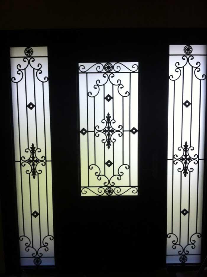 Custom Doors-Fiberglass Single Front Door - Iron Art Glass Design with 2 Iron Art SIde Lights installed by Windows and Doors Toronto in Thornhill Ontario Inside View