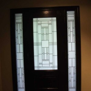 Custom Doors-Fiberglass Single Front Door- Stained glass with 2 Side Lights installed by Windows and Doors Toronto in Oshawa Inside View