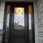 Custom Doors-Fiberglass Single Front Door with 2 Iron Art Side lights Installed by Windows and Doors Toronto in Woodbridge