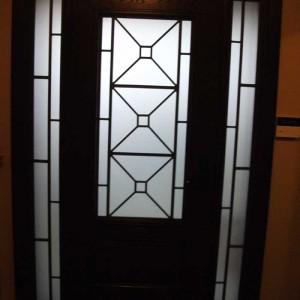 Custom Doors-Fiberglass Single Front Door with 2 Iron Art Side lights Installed by Windows and Doors Toronto in Woodbridge Inside View