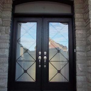 Custom Doors-Fiberglass Woodgrain with Iron Glass Design & Matching Arch Transom Installed by Windows and Doors Toronto in Berrie
