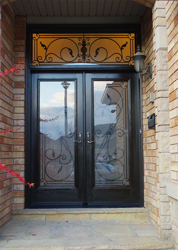 Custom Doors, Woodgrain Fiberglass Double Iron Art Glass Design Front Door with Iron Art Ransom Installed by Windows and Doors Toronto in Woodbridge