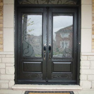 Custom Doors, Woodgrain Fiberglass Double Iron Art Glass Design front Door with Nice Matching Arch ransom Installed by Windows and Doors Toronto in Richmondhill Ontario