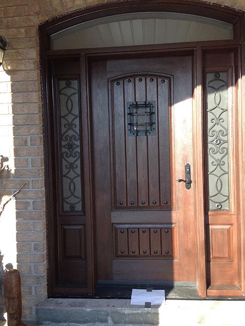 Custom Rustic Door with 2 side lite Installed in Berlington by windowsanddoorstoronto.ca