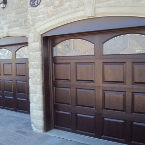 Fiberglass Woodgrain Garage Doors with Windows installation by Windows and Doors Toronto in Richmond Hill