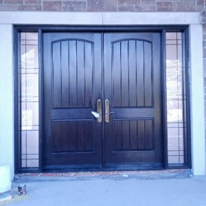 Oversized Rustic Front Entry Doors with 2 Side Lites installed in New Construction Custom Home in Klineburg by windowsanddoorstoronto.ca