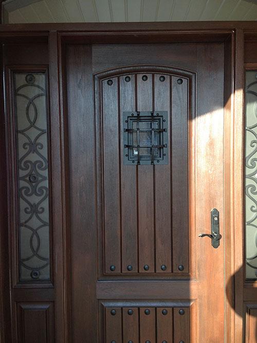 Rustic Door-Custom Fiberglass Door with 2 side lite Installed in Berlington by windowsanddoorstoronto.ca