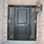 Rustic Door, Single Fiberglass Solid Rustic Door With 2 Iron Art SIde Panel Installed by Windows and Doors Toronto in Woodbridge Ontario