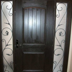 Rustic Door, Single Fiberglass Solid Rustic Door With 2 Iron Art Side Panel Installed by Windows and Doors Toronto in Woodbridge Ontario - (Inside View)