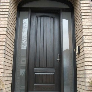 Rustic Door, Single Fiberglass Solid RusticDoor With 2 Side Frosted Lights and Arch ransom Installed by Windows and Doors Toronto in Oakville